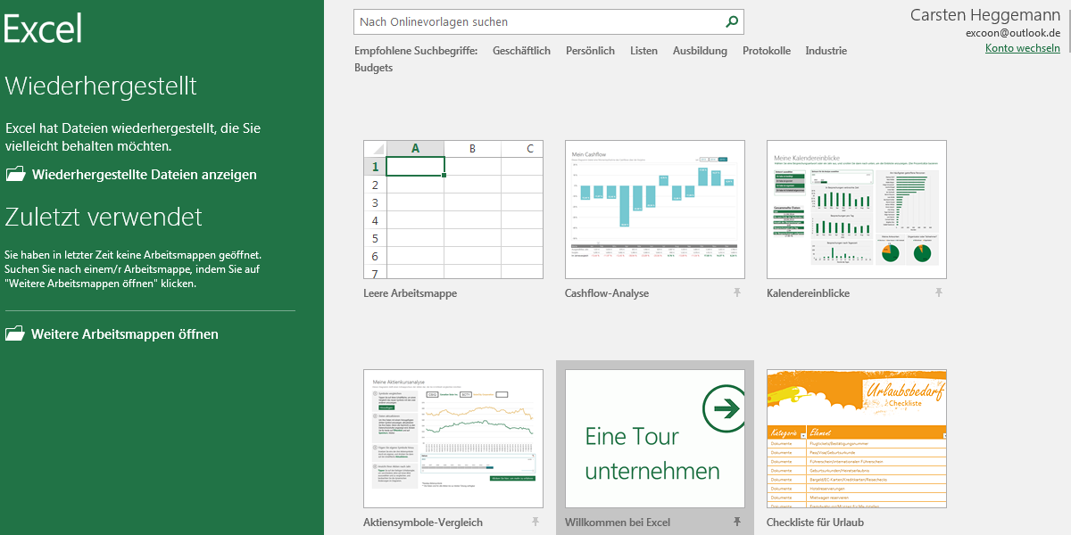 Excel Anfangsmenu